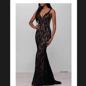 Jovani Fitted Lace Prom Dress, Old Hollywood Glam